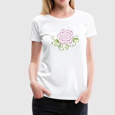 Lotus flower with filigree tribal. Yoga. - Women's Premium T-Shirt