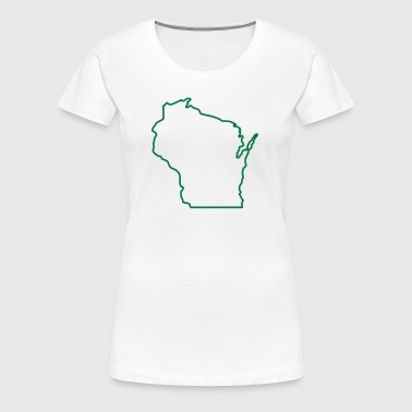Wisconsin State Outline Design - Women's Premium T-Shirt