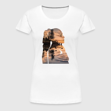 Double Exposure Profile - Women's Premium T-Shirt