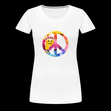 Peace Emoticon Symbol, Funny Face Sign Art - Women's Premium T-Shirt