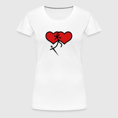 Love Hearts together valentine Lovers - Women's Premium T-Shirt