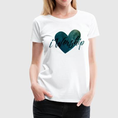 iWorship_BlueBlack - Women's Premium T-Shirt