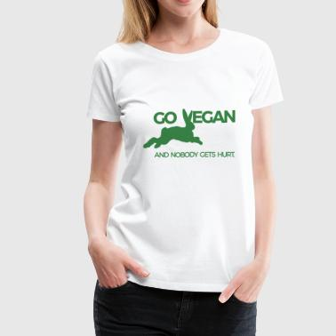 RABBIT JUMPS GO VEGAN - Women's Premium T-Shirt
