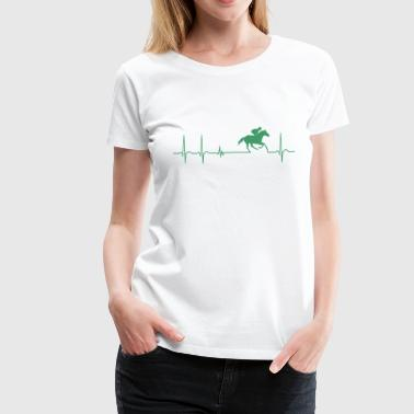 Heartbeat Jockey Horse Racing Cool Fun Fan gift - Women's Premium T-Shirt