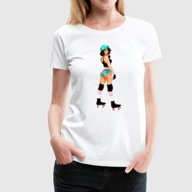 Pinup Roller Derby Girl - Women's Premium T-Shirt