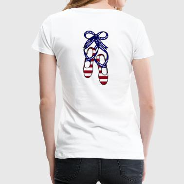 Red, White and Blue Ballet Shoes - Women's Premium T-Shirt