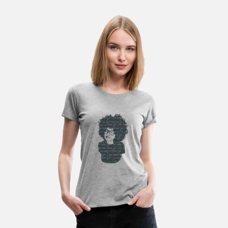 Afro T-Shirts - Peace Brown Natural Girl - Women's Premium T-Shirt heather gray
