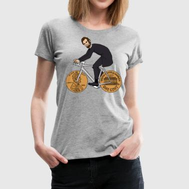 abe lincoln riding bike with penny wheels - Women's Premium T-Shirt