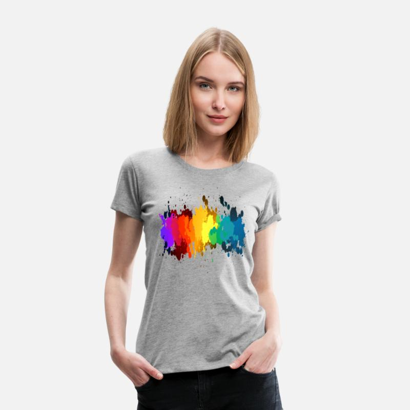 Paint T-Shirts - Rainbow Paint Splatter - Women's Premium T-Shirt heather gray