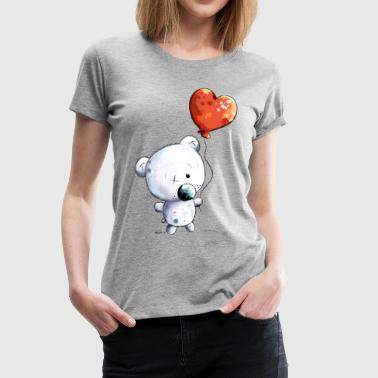 Cute Polar Bear With Balloon - Kids - Gift - Baby - Women's Premium T-Shirt