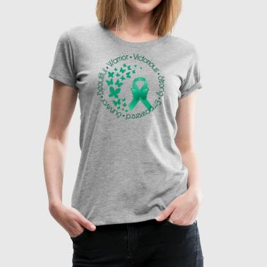 Teal Ribbon Butterflies - Women's Premium T-Shirt