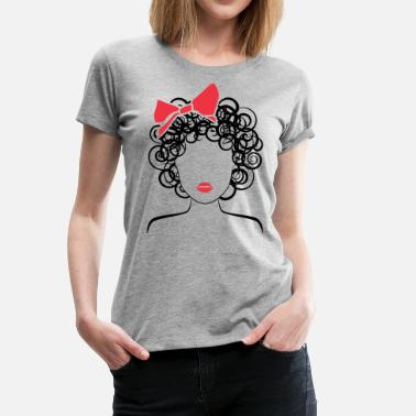 Coily Hair Coily Girl with Red Bow_Global Couture_logo Long S - Women's Premium T-Shirt