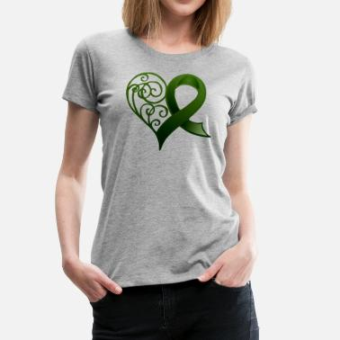 Cerebral Palsy Awareness Green Ribbon Heart - Women's Premium T-Shirt
