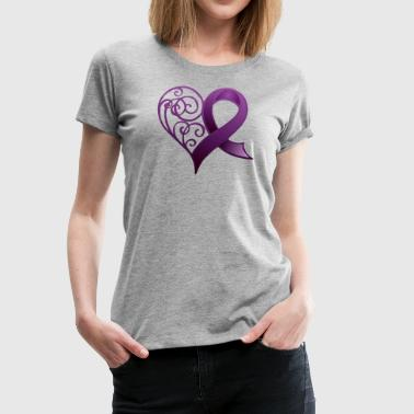 Purple Ribbon Heart - Women's Premium T-Shirt