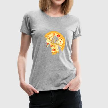 Pizza Moon bicycle present gift - Women's Premium T-Shirt