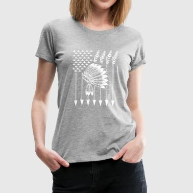 Cool Native American Arrow And Teepee Flag Shirt F - Women's Premium T-Shirt