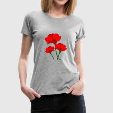 Red Spring red poppies spring - Women's Premium T-Shirt