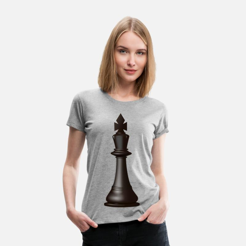 King T-Shirts - Black King Chess Piece - Women's Premium T-Shirt heather gray