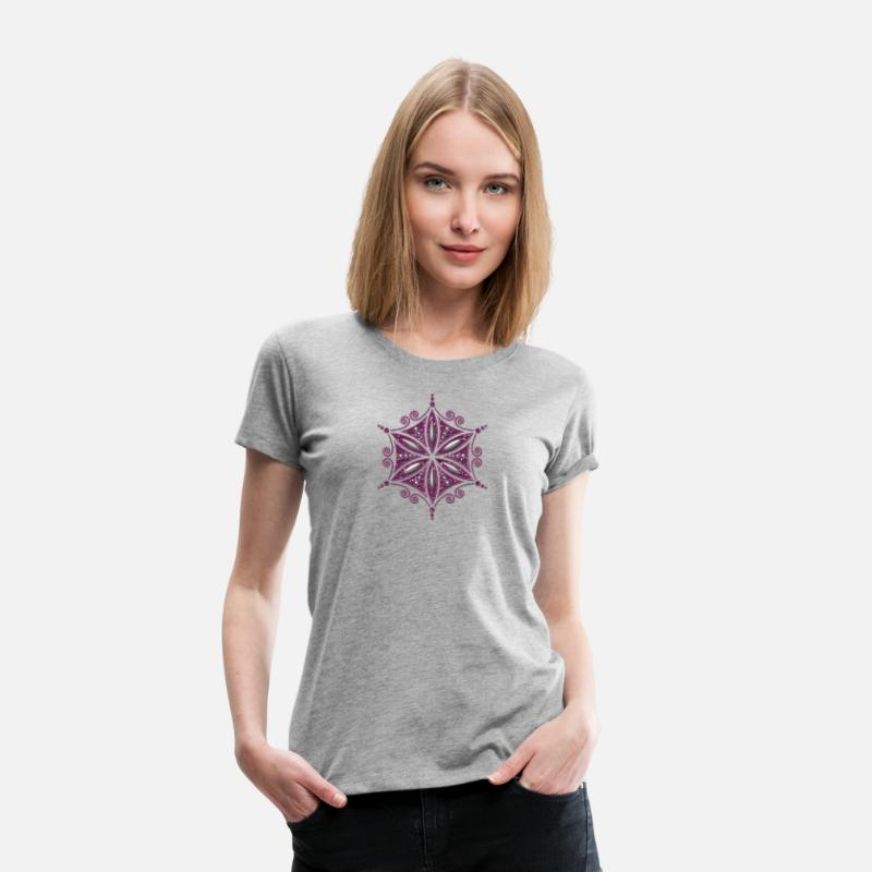 Feng Shui T-Shirts - Flower of Aphrodite, Symbol of  love, beauty and transformation, Power Symbol, Amulet - Women's Premium T-Shirt heather gray