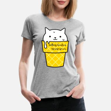 Adult Baby Couples Cat Ice Cute Melting Hearts Superpower - Women's Premium T-Shirt