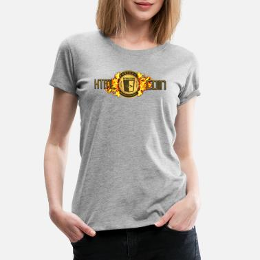 Virtual Currency HTMLcoin crypto currency fiery flames. - Women's Premium T-Shirt