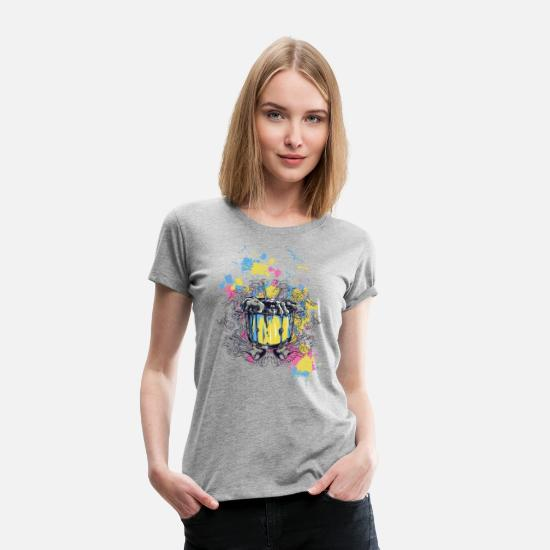 Watercolor T-Shirts - Contained Monster - Women's Premium T-Shirt heather gray