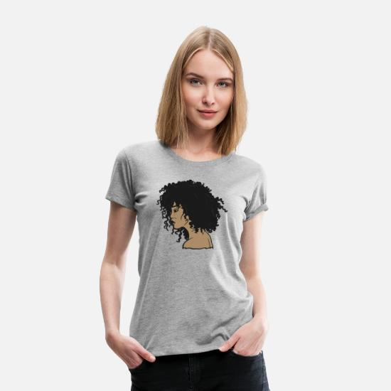 Hair T-Shirts - My Afro - Natural Hair - Afrocentric Gift - Women's Premium T-Shirt heather gray