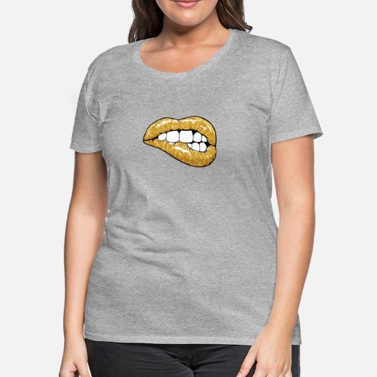 9bea9da9d122 Women's Premium T-ShirtGolden glitter lips. goljakoff. Choose a size. S