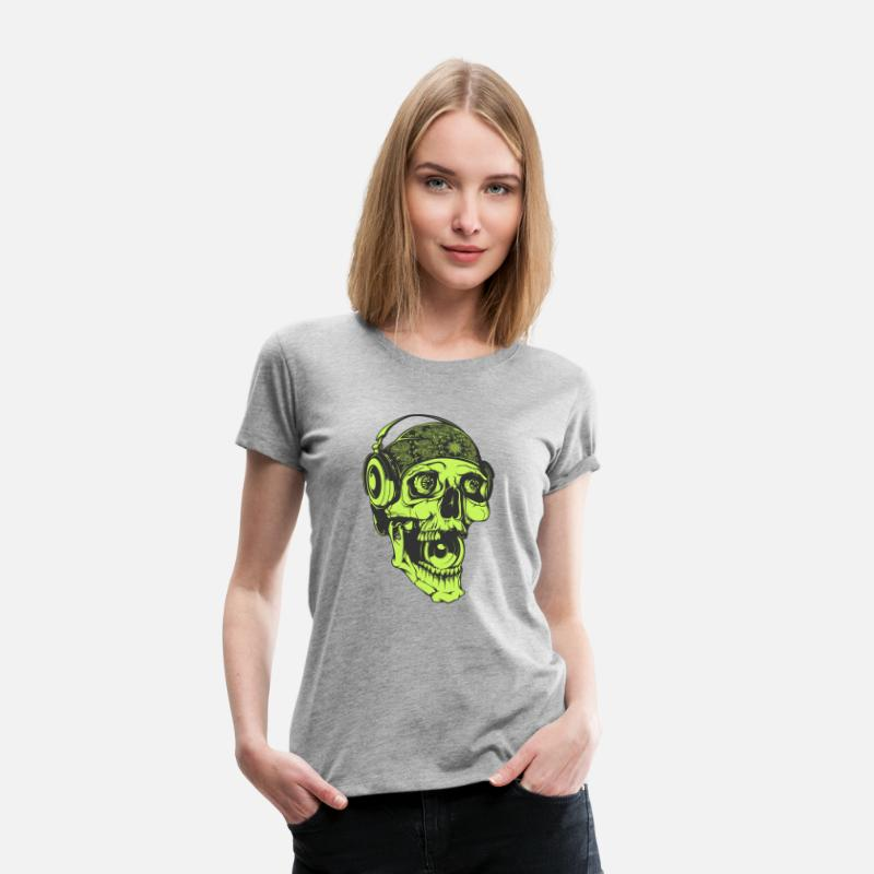 Disco T-Shirts - Music skull Dj headphones streetwear vector image - Women's Premium T-Shirt heather gray