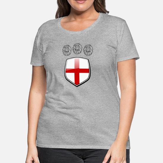 6439f3d7 England Shield 3 Lions Soccer Women's Premium T-Shirt   Spreadshirt