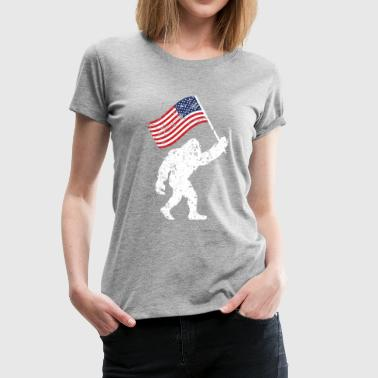 Bigfoot 4th Of July Shirts Flag Patriotic USA - Women's Premium T-Shirt