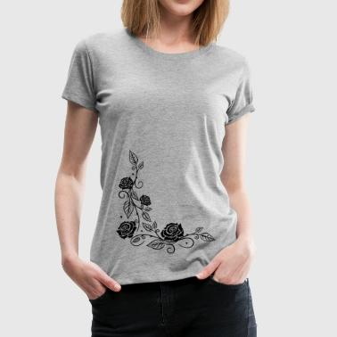 Roses with filigree ornament and leaves - Women's Premium T-Shirt