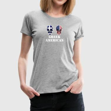 Greek American Flag Skulls - Women's Premium T-Shirt