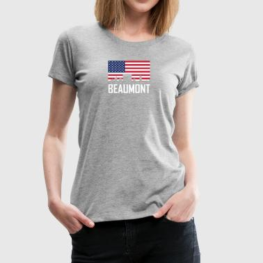 Beaumont Texas Skyline American Flag - Women's Premium T-Shirt