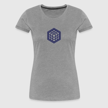 3D Cube - crop circle - Metatrons Cube - Hexagon / - Women's Premium T-Shirt