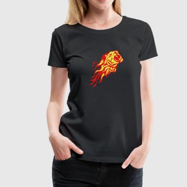 fire flame tiger animal 302 - Women's Premium T-Shirt