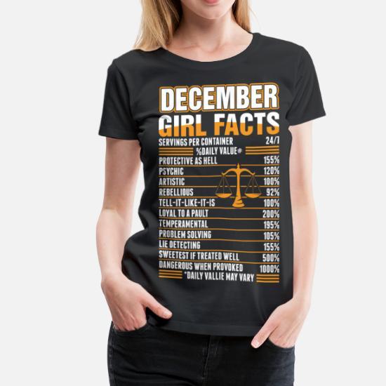 December Girl Facts Libra Women's Premium T-Shirt - black