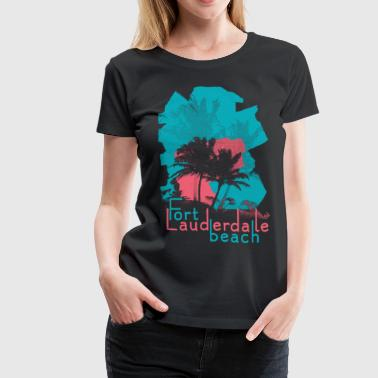 Palm Trees on Fort Lauderdale Beach - Women's Premium T-Shirt