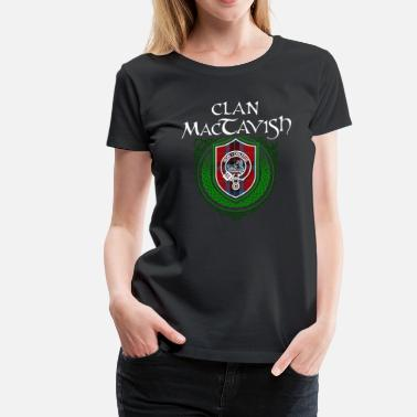 Irish American MacTavish Surname Scottish Clan Tartan Crest Badge - Women's Premium T-Shirt