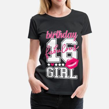 16 Year Old 16 yrs old, 16th birthday girl sweet pink princess - Women's Premium T-Shirt