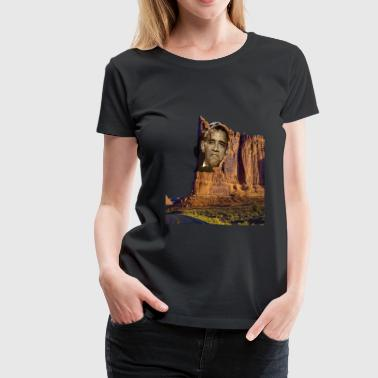 Obama- Face on A  California mountain - Women's Premium T-Shirt