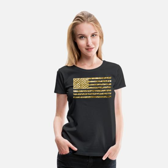 Print T-Shirts - American Flag Gold Foil - Women's Premium T-Shirt black