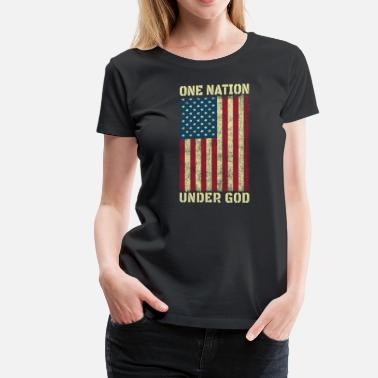 Bless One Nation Under God 4th Of July American Flag Vintage - Women's Premium T-Shirt