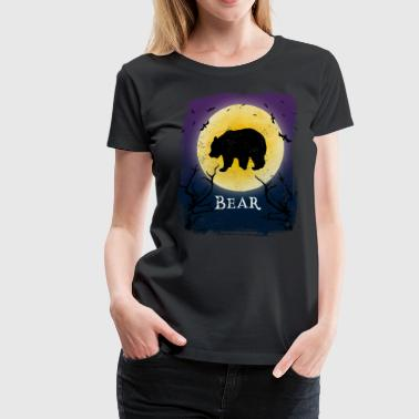 Bear Halloween Vintage Design Full Moon - Women's Premium T-Shirt