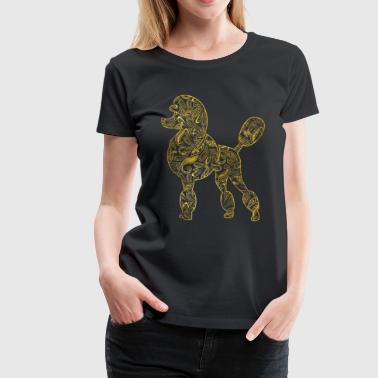Poodle Dog in  Gold Paisley pattern - Women's Premium T-Shirt