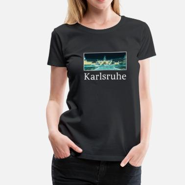 Karlsruhe Karlsruhe City Skyline Sights Silhouette - Women's Premium T-Shirt