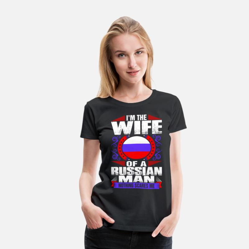 Wife T-Shirts - Im Russian Man Wife - Women's Premium T-Shirt black