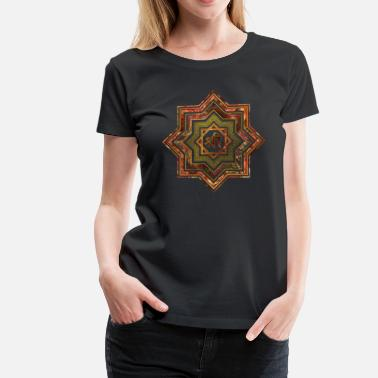 Lakshmi Red Gemstone and gold  Star of Lakshmi -  and Sri - Women's Premium T-Shirt