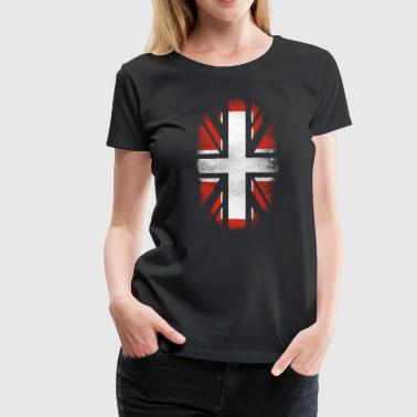 British Switzerland Flag - Swiss and UK Pride TShirt - Women's Premium T-Shirt