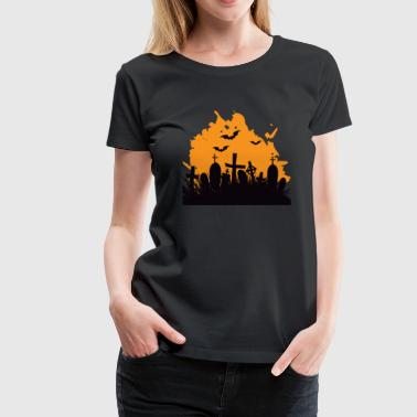 Bat Cemetery Funny Bat Cemetery - Scary Creepy Spooky Halloween - Women's Premium T-Shirt